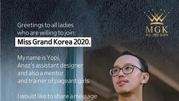 요피 크루니아완, 대회 준비중인 2020 미스그랜드코리아 후보들에 격려 메시지