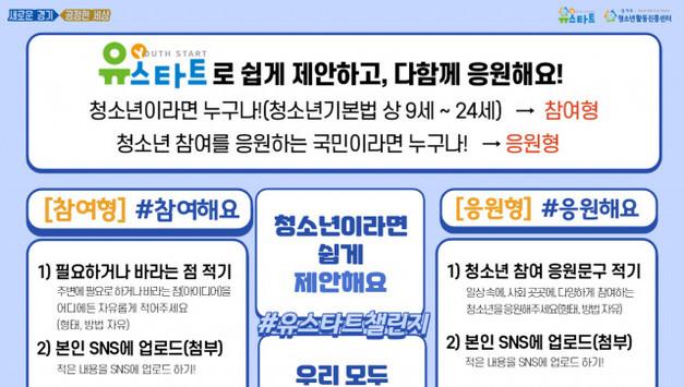 경기도청소년활동진흥센터, 청소년 사회 참여 독려하는 '유스타트챌린지' 시작